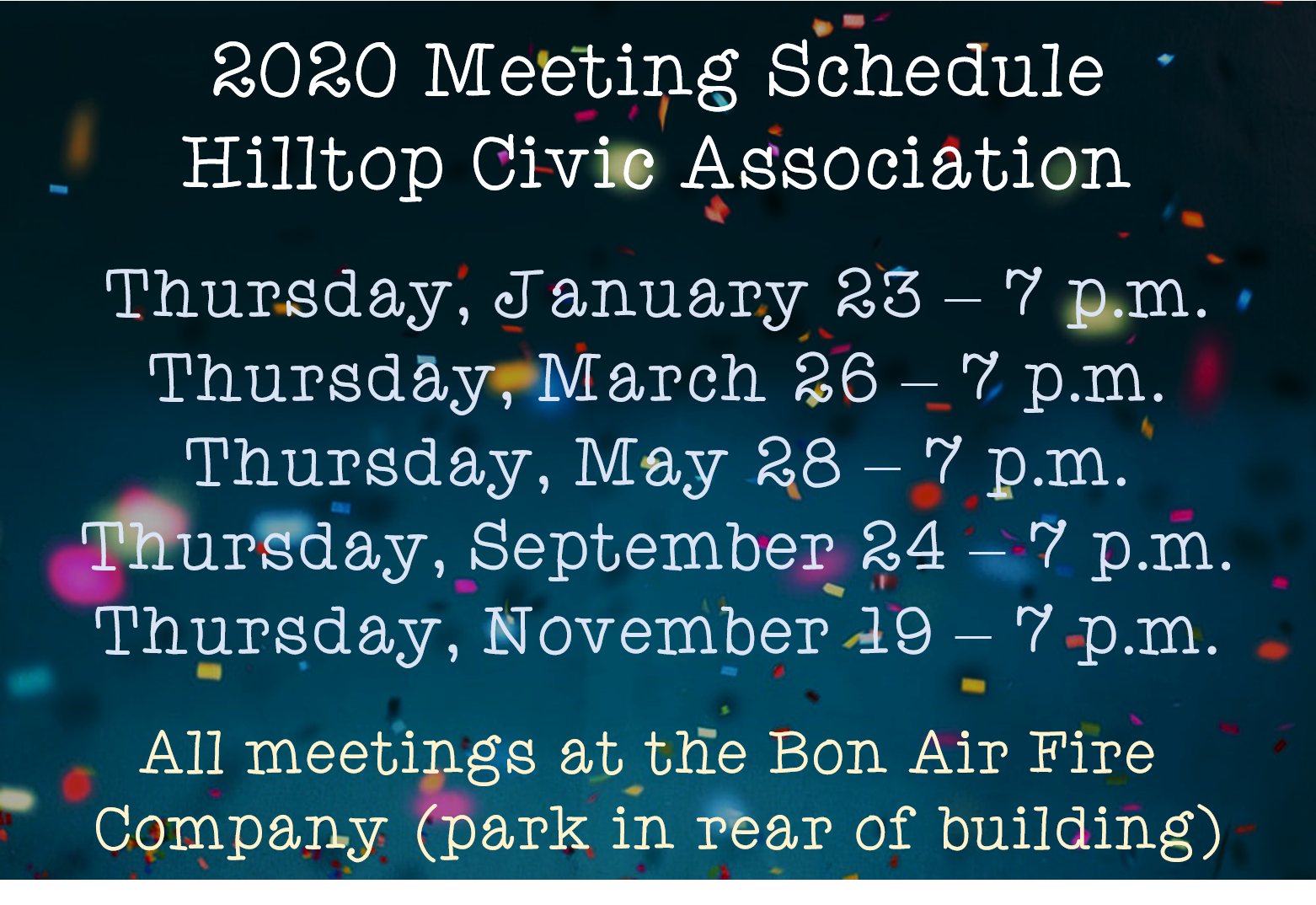 HCA Meeting Schedule